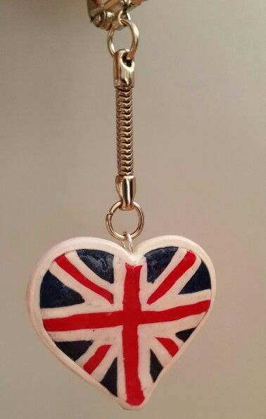 Porte cl s coeur drapeau anglais fimo deco english for Porte and anglais