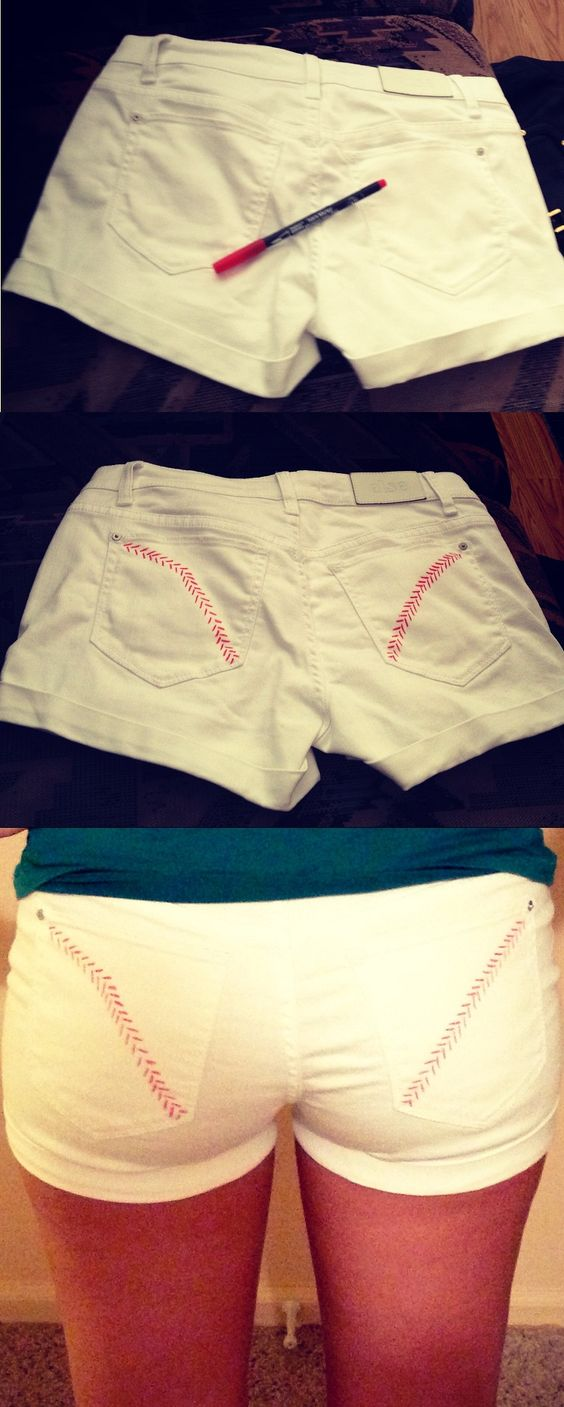 Super easy baseball craft - baseball stitch pocket shorts! Click for the DIY tutorial! Cute, don't know if I'd want to attract that much attention to my butt though.