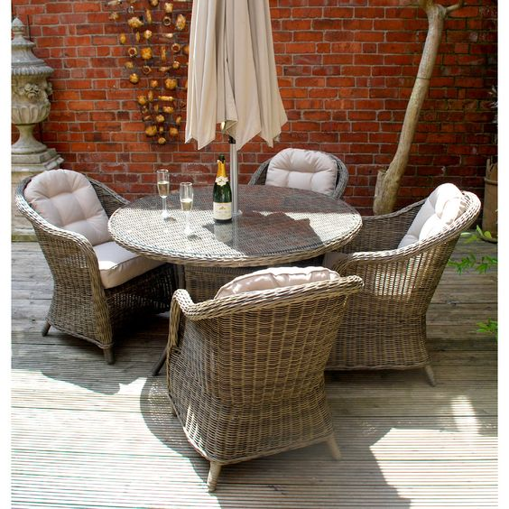 Hampshire garden   outdoor rattan dining set with parasol. Pinterest   The world s catalog of ideas