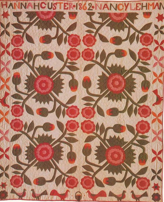Whig Rose Variation, 1862. Made by Hannah Custer and Nancy Lehman. Somerset Co, Pennsylvania.