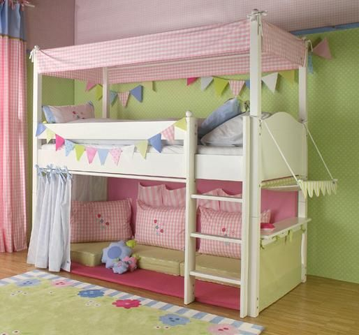Hochbett selber bauen mädchen  hochbett vorhang - welche Farben passen zu Kinderzimmer ?? (Kinder ...