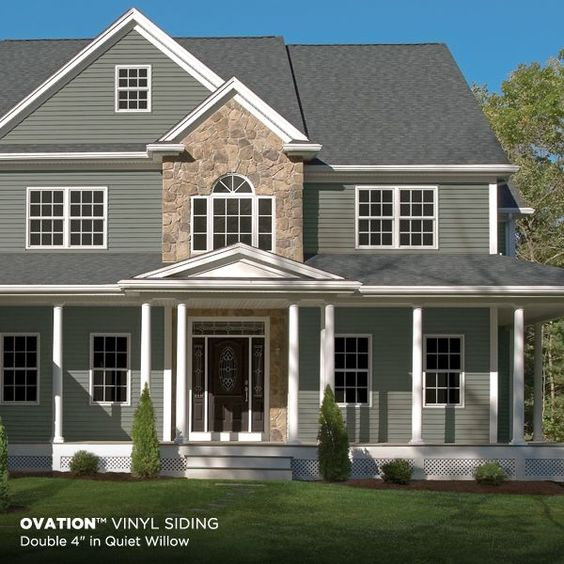 Green Siding In Quiet Willow Paired With A Stone Exterior Favething Com Home Decor House Exterior House Siding Green Siding House Exterior