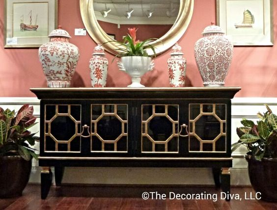 Chinoiserie buffet at Chelsea House - so pretty. High Point Market fall 2013 #hpmkt: Market Fall, Chinoiserie Buffet, Market 2013, Fall 2013, 2013 Hpmkt, High Point Market, Highpoint Fall