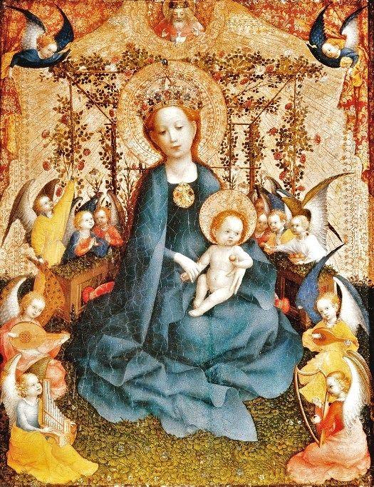 Stefan Lochner (German artist, 1400-1451) Madonna of the Rose Bush, ca 1440, Wallraf-Richartz Museum, Cologne: