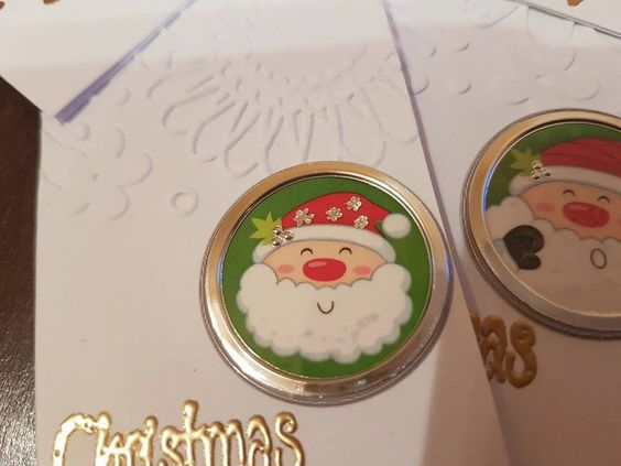 Set of 3 handmade embossed christmas double tags with embellishments - merry christmas, christmas hugs, cute tags, Santa Clause tags by ArtDenia on Etsy