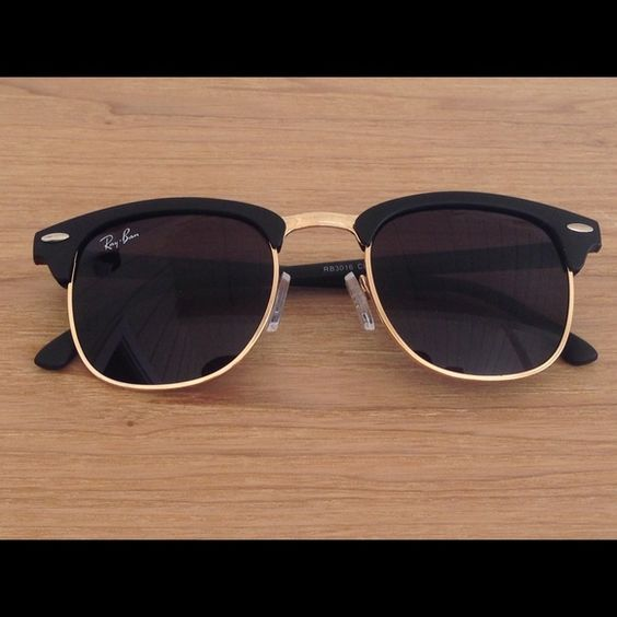 ray ban sunglasses black gold  rayban clubmaster black & gold sunglasses new ray bans, no scratches. doesn't