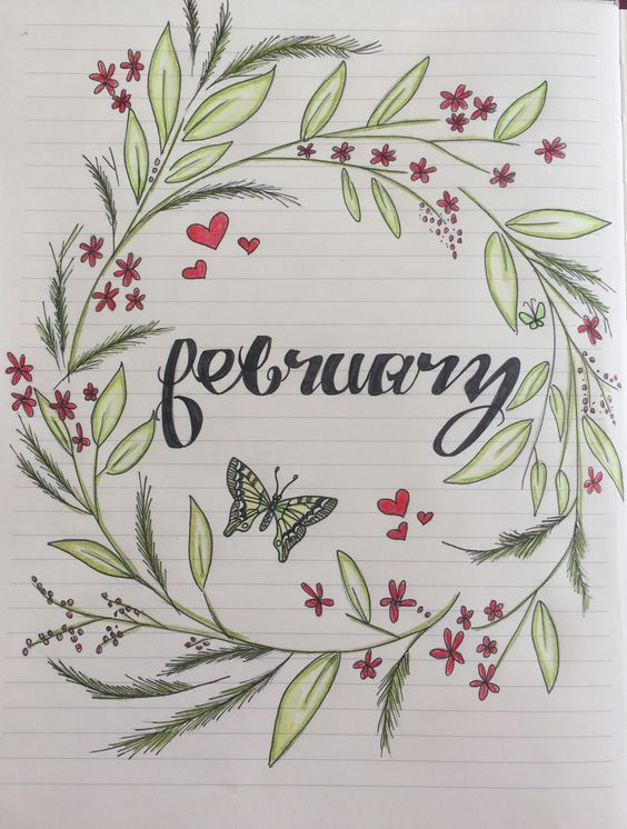 February bullet journal month title page with wreath and butterfly by Stacy Anderson.