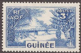 """1938-40 3c ultramarine  """"Guinea Village"""" In 1938, a new four design 33 stamp issue was produced which has all the élan of French designed stamps.  Six of the stamps have the illustration above, all for CV 25 cents. I think this wonderful stamp puts the lie to the old saying """" You get what you pay for"""". ;-)"""