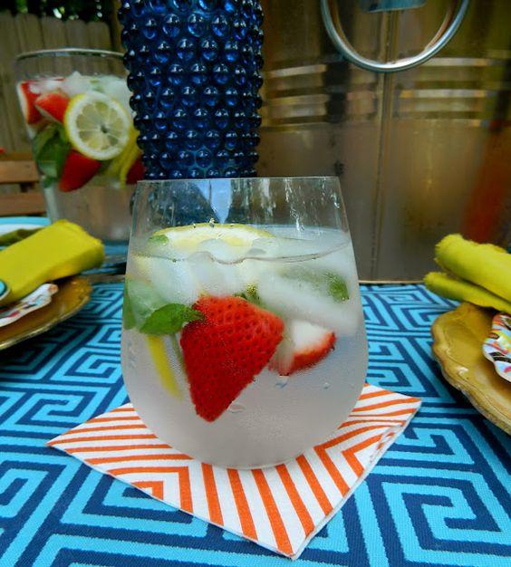 sadie + stella. strawberry/lemon/basil infused water