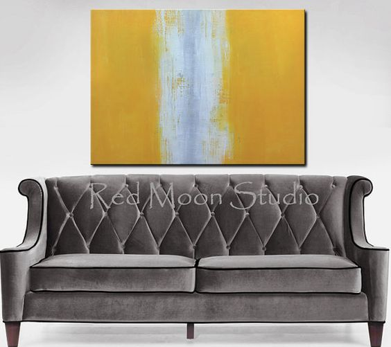 Painting Abstract Art Yellow and Gray, XLarge 48x36 - Yellow and Grey Abstract Painting