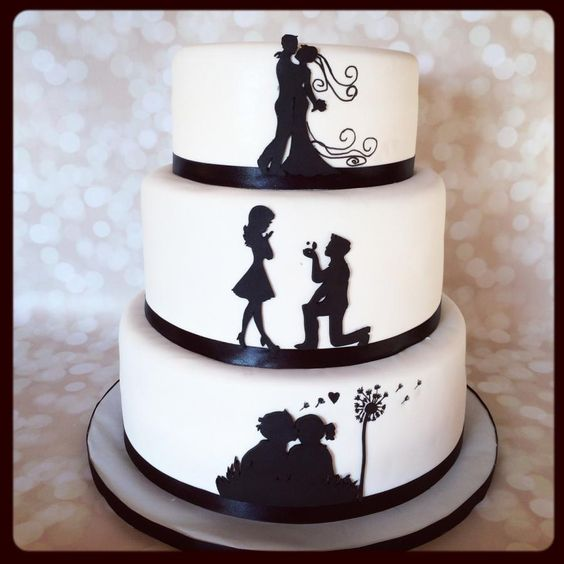 This is a silhouette love story wedding cake. Everything is cut from fondant by hand except for the dandelion that I had to hand draw on to the cake with a food marker.: