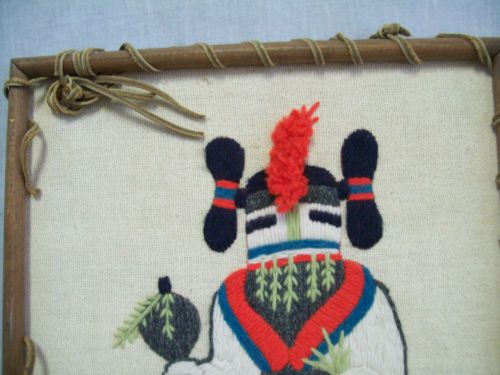 Vintage-1970s-Crewel-Embroidery-Hopi-Kachina-Framed-Leather-Trim-Southwest