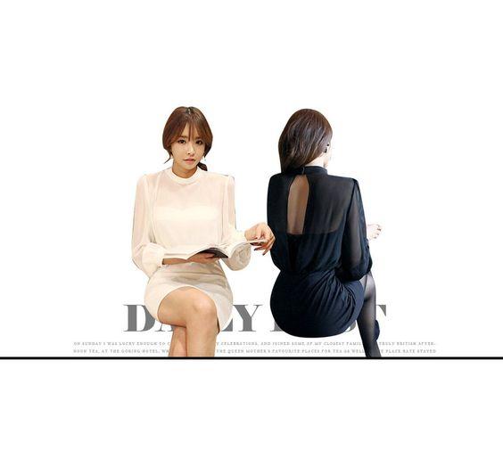 Inset Mesh Top Mini Tube Dress , Black , 55 - DABAGIRL | YESSTYLE