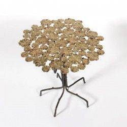 BOAZ TABLE table flower top and twig legs in brass finish #Cravt #Original #Interior #Furniture #Design #Luxury #Console #Table #Flower #Brass