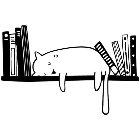 Vinilo decorativo de un gato durmiendo entre libros Lokoloko