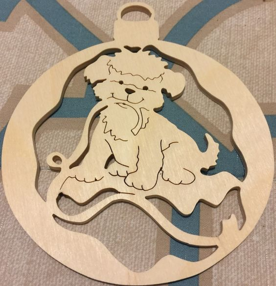 Handmade scrollsawn wooden puppy with ribbon round scroll saw Christmas tree ornament by specialtiescrafts on Etsy