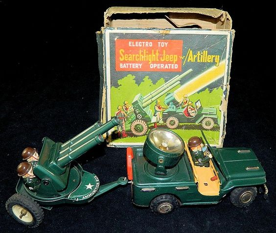 Nomura Searchlight Jeep with Artillery. Battery Operated tin toy from 60s.