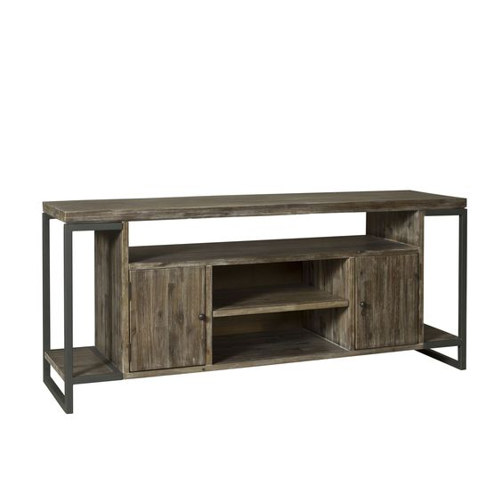 Harrison Pewter Finish/Natural Brown Acacia TV Console (Harrison TV Console)