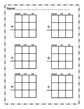 Place Value Worksheets place value worksheets hard : Blank math place value sheet- addition and subtraction ...