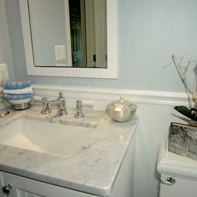 Beadboard behind vanity with no backsplash bathroom for Backsplash ideas for bathroom sinks