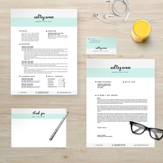 Modern Resume Cover Letter Business Card Thank You by ResumeLab - resume paper office depot