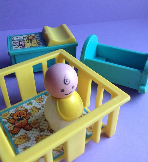 70s Fisher Price Little People Baby & Nursery, 4 piece set, playpen / rocker / changing table, figures, original, collectible, vintage toys