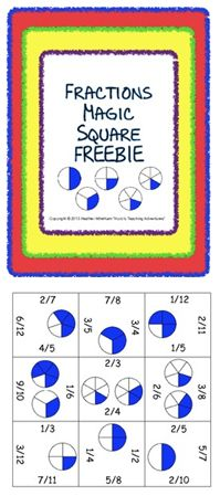 FREE fraction Magic Square puzzle - students match halves, thirds ...