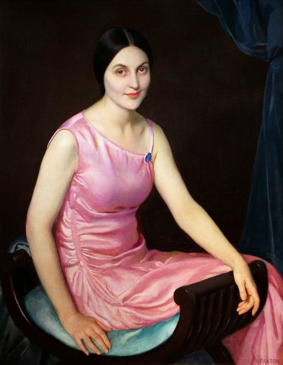 Elsa in the Pink Dress by William McGregor Paxton (1869-1941). Oil on canvas,