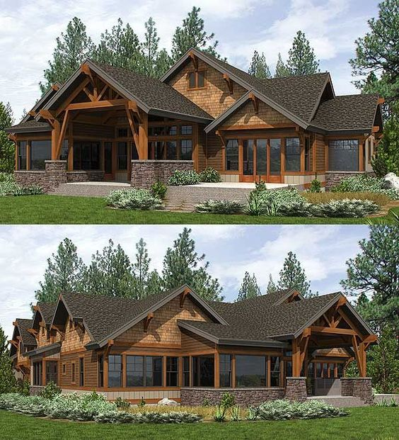 Covered outdoor living room in back of Architectural Designs Mountain House Plan 23610JD. Ready when you are.