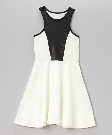 Love this White &amp- Black Racerback Skater Dress by Cheryl&-39-s Kids ...