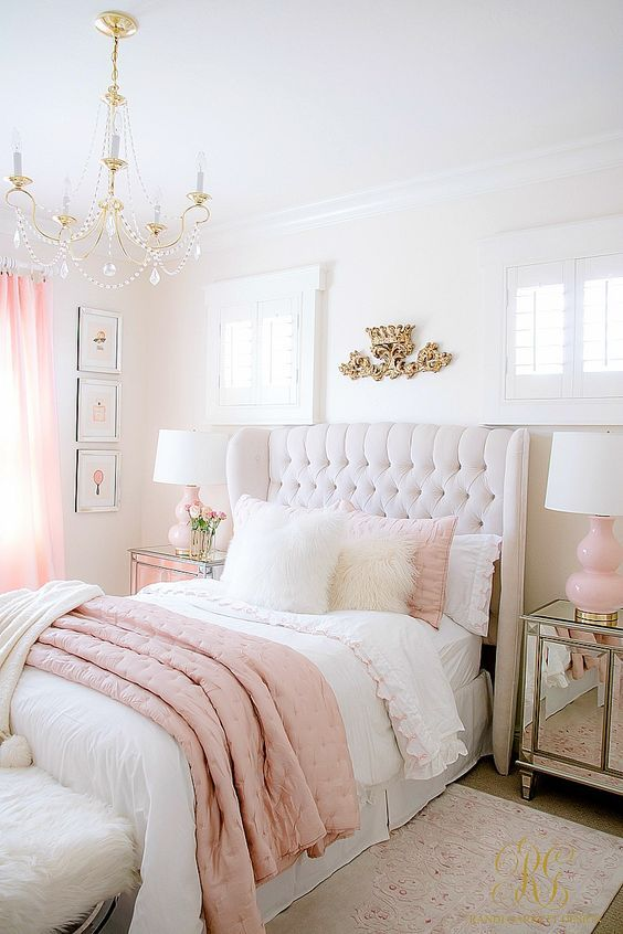 Pink And White Tween Bedroom Brass Crystal Chandelier Tufted Wing Back Bed Girls Bedroom Themes Girl Bedroom Decor Teenage Girl Bedrooms
