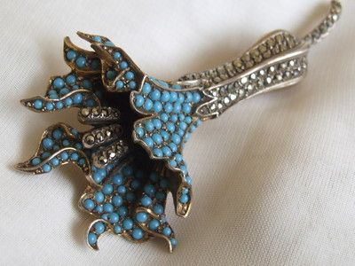 Antique VICTORIAN Marcasite & Turquoise Sterling Silver Gilt Floral Brooch Pin: