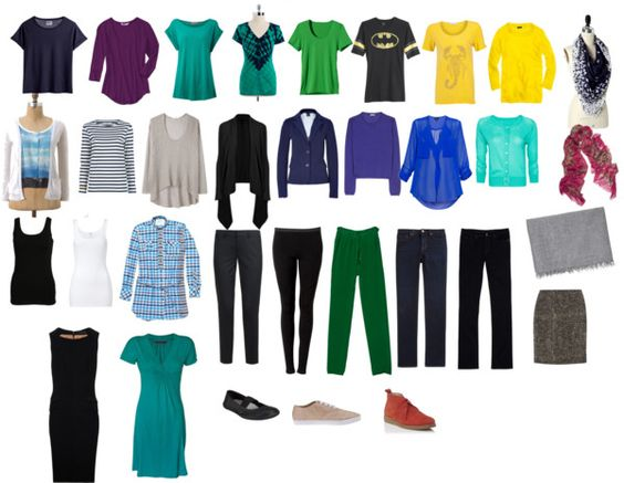 Approximation of my Project 333 minimalist wardrobe for July through September 2012.