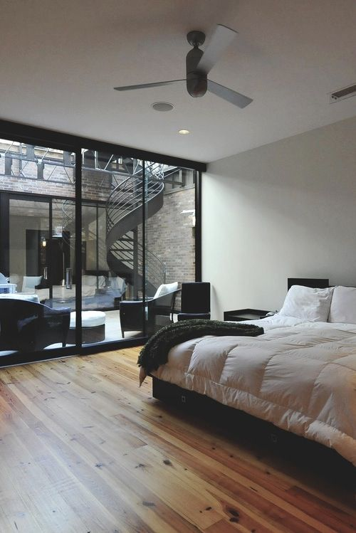 Bedroom, home decor, interior design, interior architecture, modern home, bed, stairs, outside and inside home