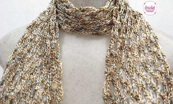 Pashmina Crochet Chiquérrima Fresquinha... <br>Tons de Castanho <br>Linha de 100% Viscose da Turquia