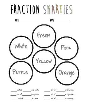 math worksheet : learning fractions with smarties  fractions math worksheets and  : Fractions Of Groups Worksheets