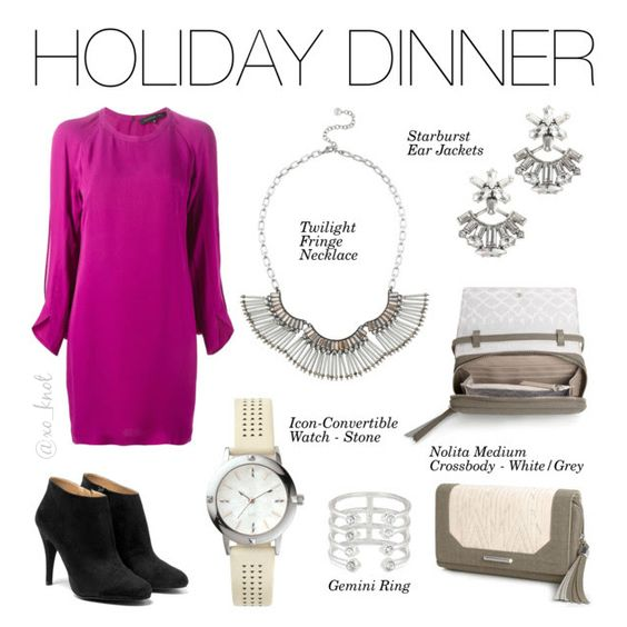 Stella & Dot | Holiday Dinner | Neutral sparkle and silver fringe form this carefree statement necklace. Add some fun to your wardrobe! Shown: Twilight Fringe Necklace, Starburst Ear Jackets, Nolita Crossbody White/Grey, Icon-Convertible Watch - Stone, Gemini Ring #Stelladot #StelladotStyle #Holiday #WomensFashion #Winter #HolidayCollection #NewArrivals