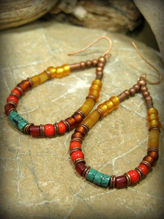 Hoop Earrings Beaded Earrings Bohemian by StoneWearDesigns on Etsy