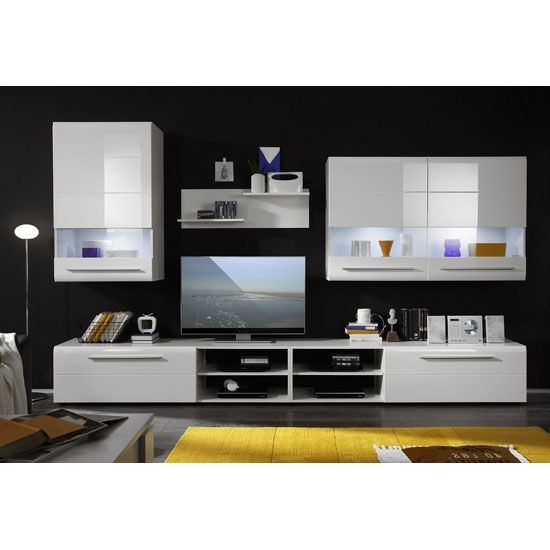 Day living room furniture set in white high gloss with led wal units pinterest tvs for High gloss living room furniture sets