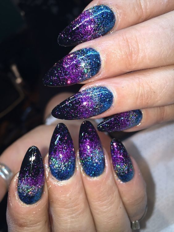 Ultra Sparkly Mermaid Nails Purple Nail Designs Galaxy Nail Art