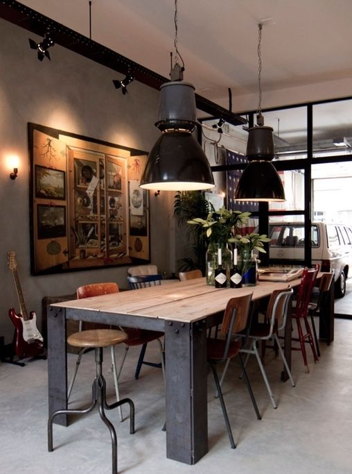 Industrial Wooden Stool And Metal Dining Chairs In Industrial Dining Room The Oversiz In 2020 Dining Room Industrial Industrial Dining Industrial Dining Room Lighting