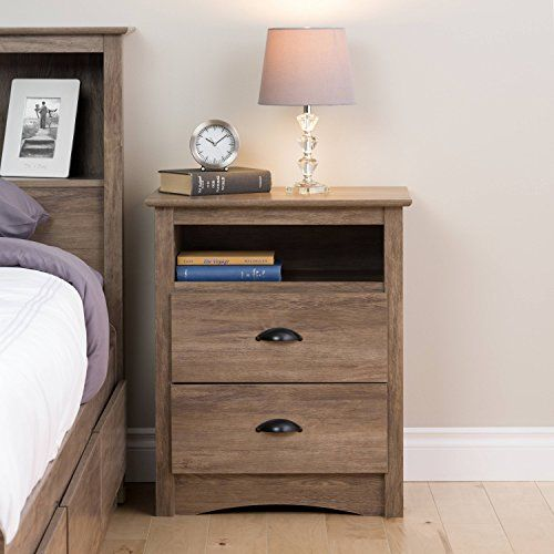 2 Drawer Tall Nightstand With Open Cubbie Drifted Gray Bedroom