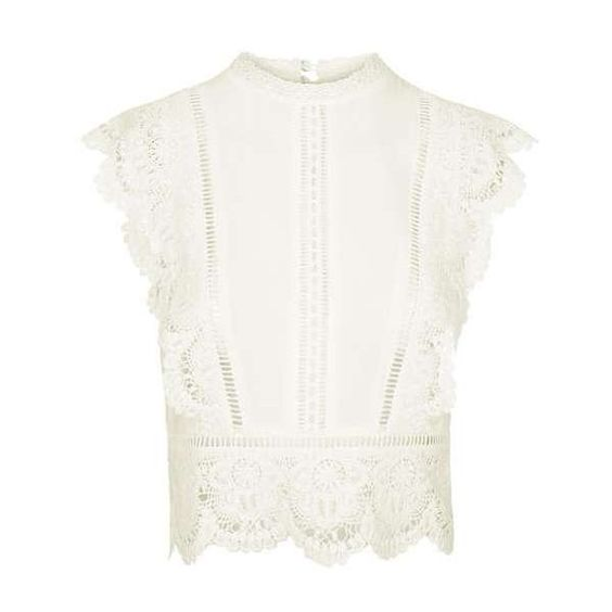 TopShop Sleeveless Crochet Blouse (£38) ❤ liked on Polyvore featuring tops, blouses, shirts, topshop, white crochet top, white top, white crochet blouse, white blouse and rayon blouse