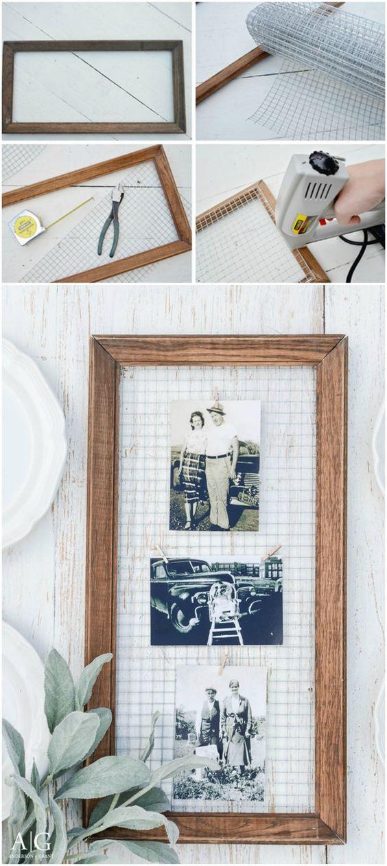 tuto facile pour réaliser un porte-photos récup et vintage en bois et grillage à poule, activite fete des mere originale pour fabriquer un cadeau unique et personnalisé