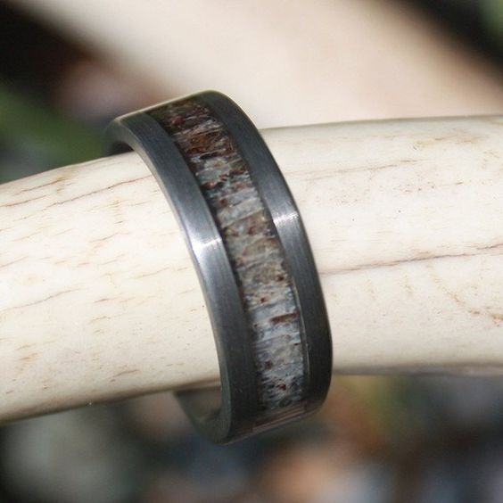 SHIPS IN 3-5 DAYS - Tungsten Gun Metal Grey Sandblasted Antler Ring - Color - Natural Grain