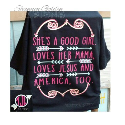 She's A Good Girl Monogram Shirt Black Shirt Pink/Mint/Cream Color Combination