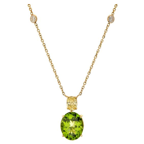 Peridot Fancy Yellow & White Diamond Encrusted Pendant | From a unique collection of vintage drop necklaces at https://www.1stdibs.com/jewelry/necklaces/drop-necklaces/