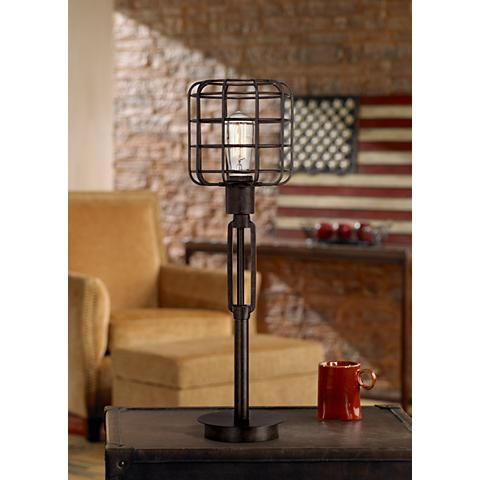 Franklin Iron Works Bronze Industrial Cage Accent Lamp 4y307 Lamps Plus Touch Lamp