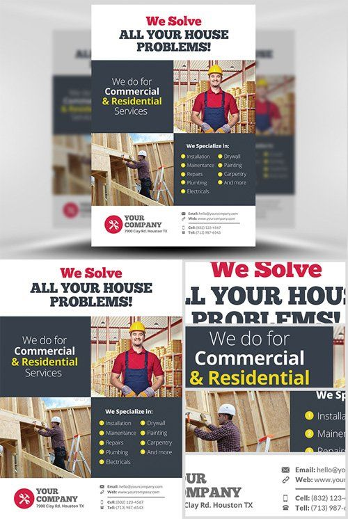 Handyman Flyer Template by FlyerHeroes on @creativemarket Flyer - handyman flyer template