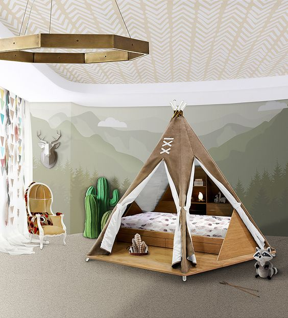 Circu's Teepee is a bedroom inspired by the free-spirited and highly spiritual young woman, named Pocahontas. #kidsroom #kidsroomideas #luxurykids Know more at www.circu.net